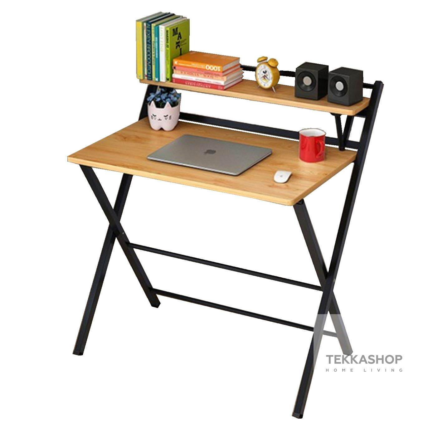 Tekkashop GDOT1608BR Foldable Wooden Study Desk Laptop Simple Table - Brown  Brown