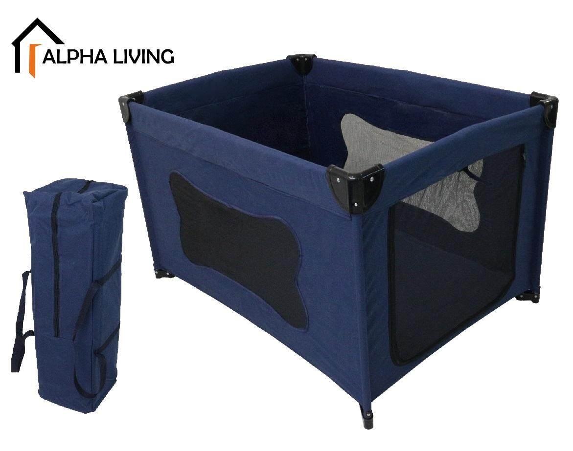 Alpha Living Baby Playpen Portable Children Travel Playards Thick Fabric Waterproof Navy Blue (BAY0161DB)