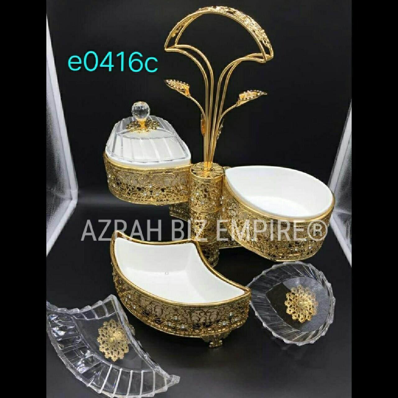 Exclusive 9pcs Tower Jar Gold Set Canister Set Balang Kuih