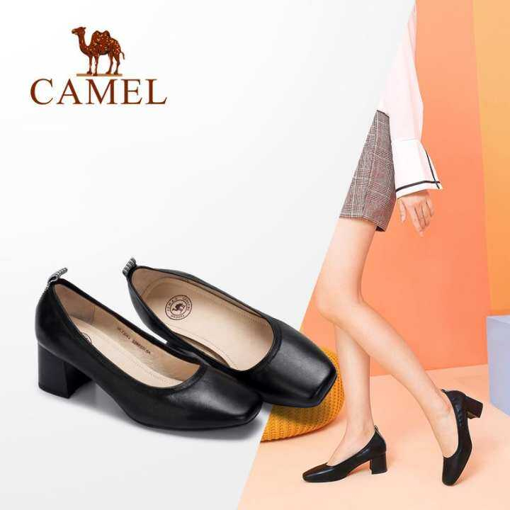 Camel womens shoes 2018 autumn new comfortable heel and elegant square with leather plaid stitching heel comfortable shoes wild thick heel shoes 3c6d65