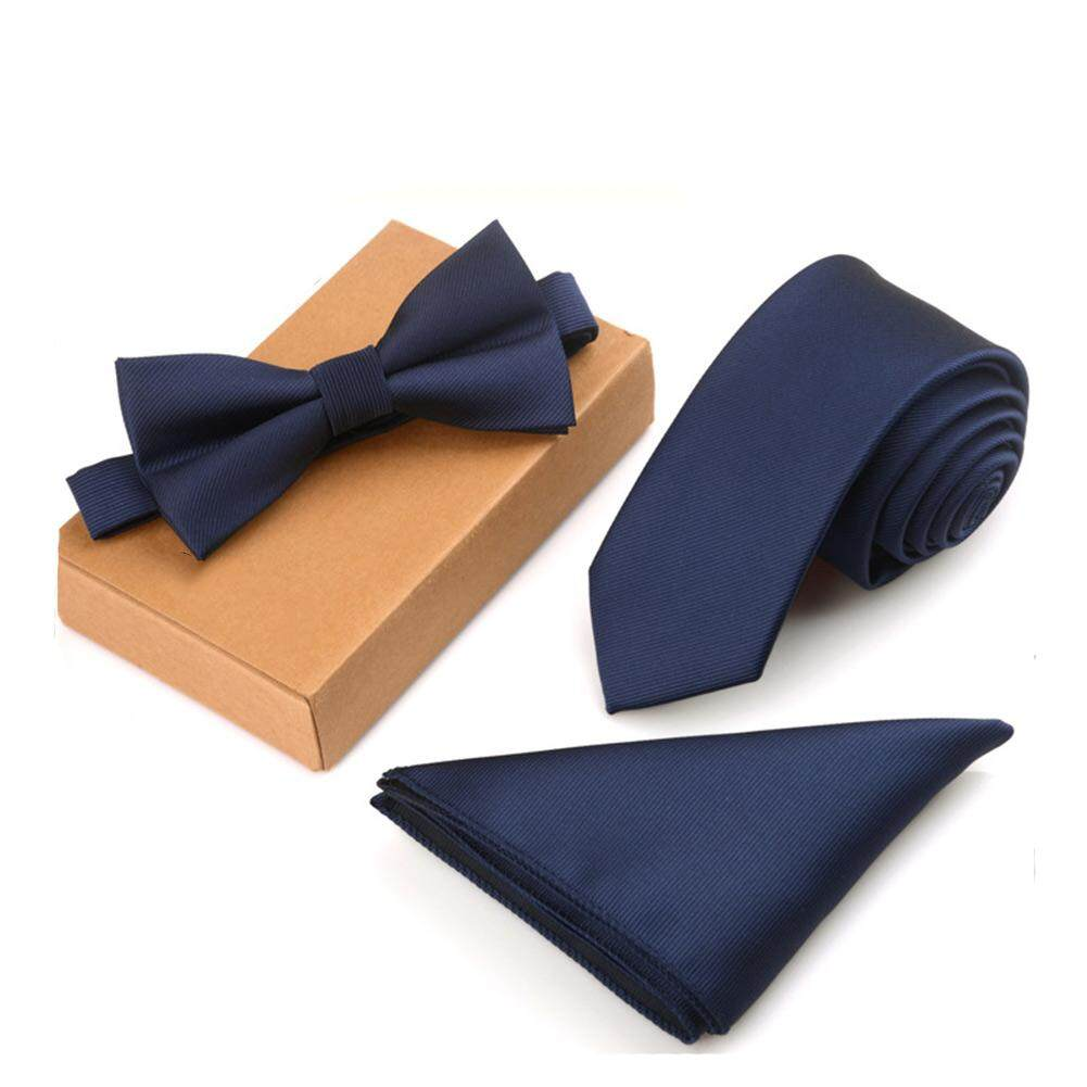Amart Fashion 3 Pcs/Set Men Slim Tie Set Bow Tie Pocket Square Handkerchief + Bowtie + Necktie Kit เนคไท