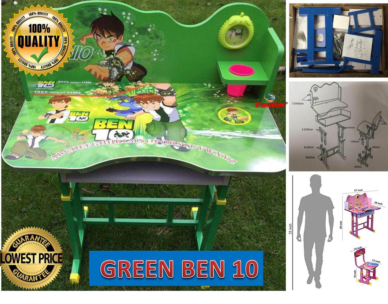 Study Table and Chair Kid Set with Cartoon Theme [ GREEN BEN 10 ]
