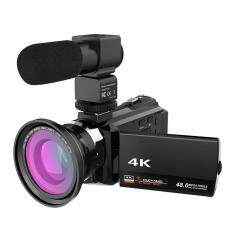 WiFi 4K 16X ZOOM Digital Video Camera Camcorder+Microphone+Wide Angle Lens