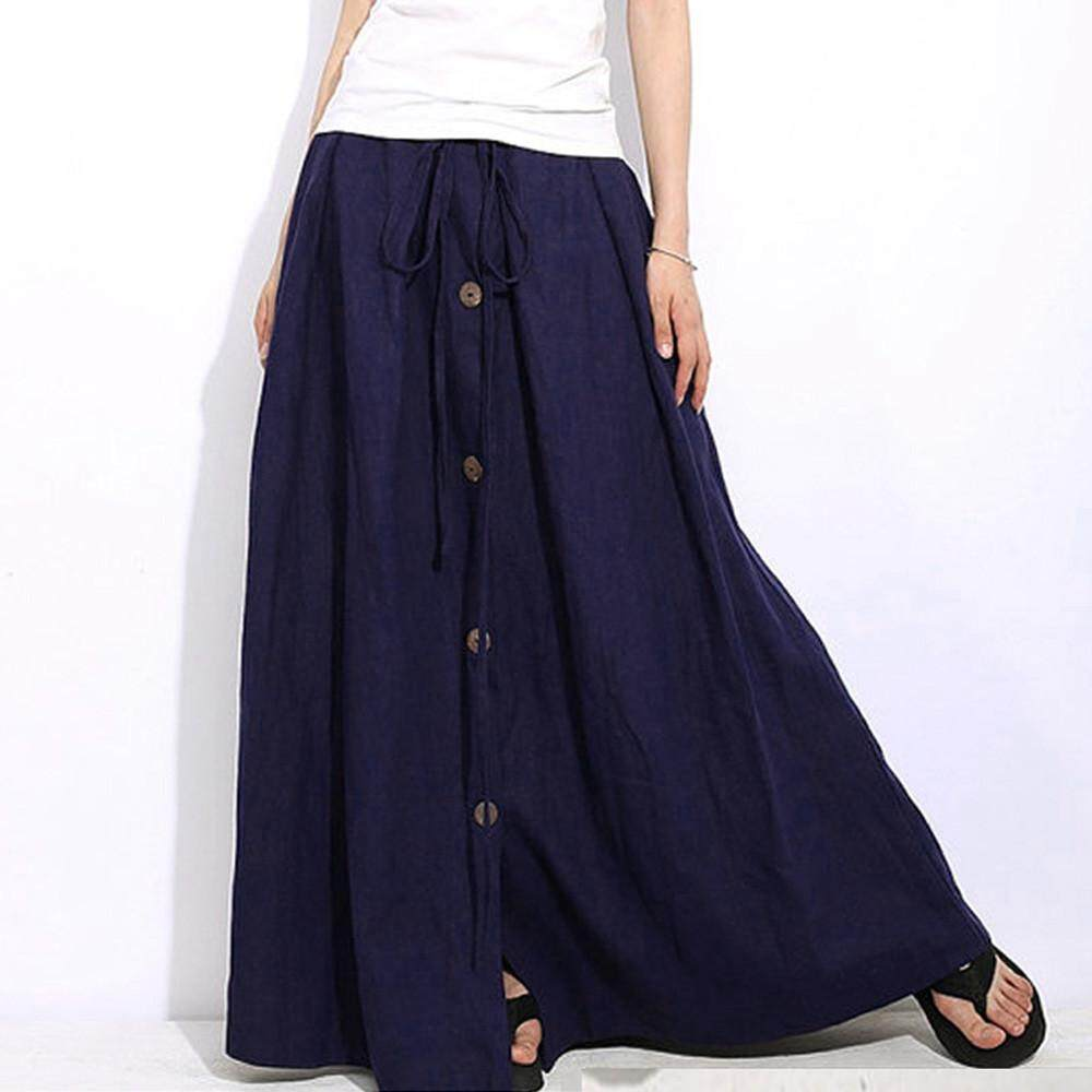 3916a5a396d10 Naponie Free shipping Women A-Line Elastic Waist Casual Button Flare Full  Length Long Maxi Skirt