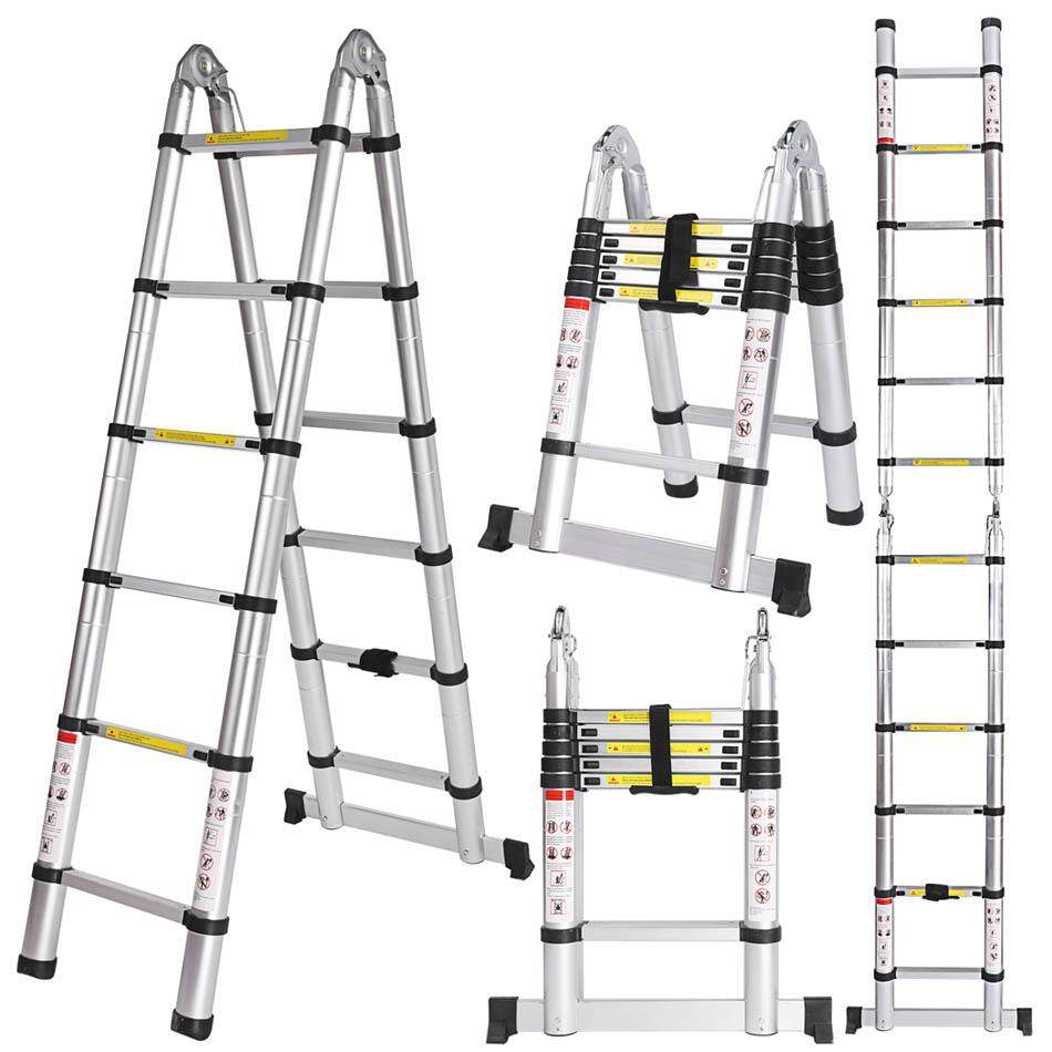 3.8M Multi-Purpose Aluminium Telescopic Ladder Extension Extendable Folding Ladder Extension Home Outdoor Ladder