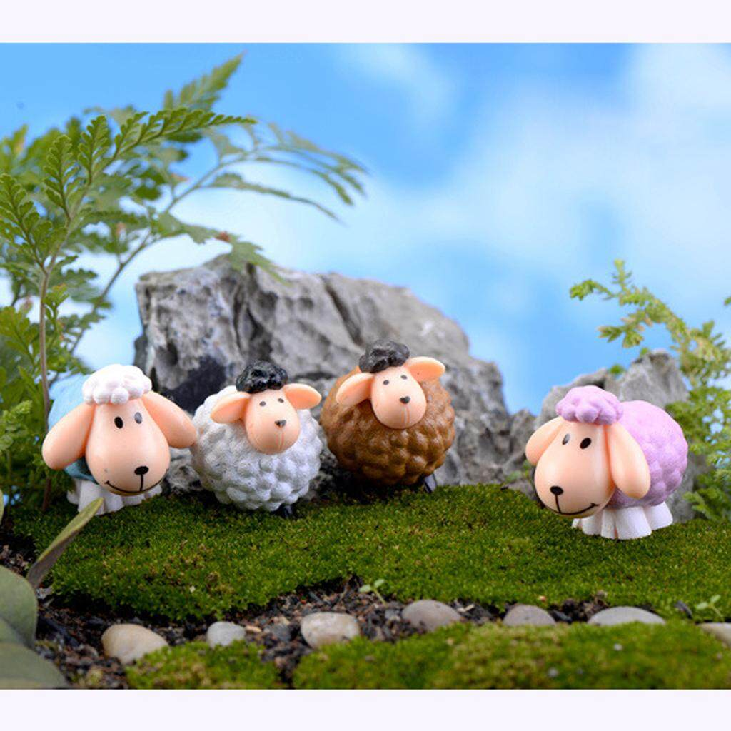 Pack of 10pcs Miniature Curly Small Sheep Bonsai Figurine Garden Ornament