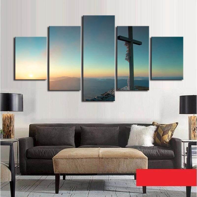FS Unframed 5 Piece Kanvas Seni Set Cross Kanvas Dinding Gambar Seni Cetak Lukisan Minyak untuk