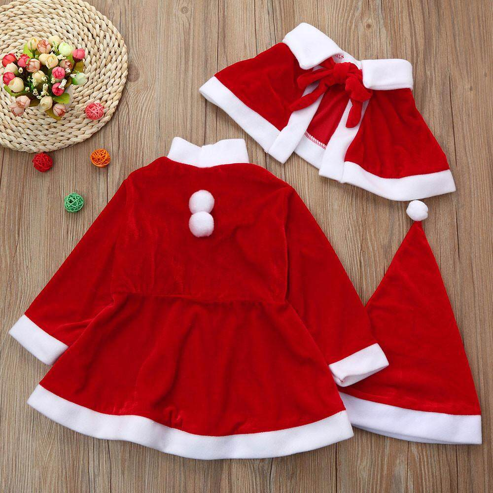 Toddler Kids Baby Girls Christmas Clothes Costume Party Dresses+Shawl+Hat Outfit
