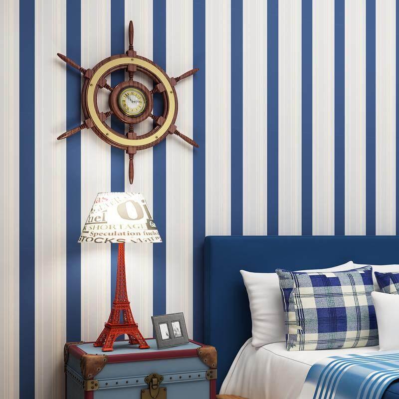 Modern Minimalist Non-woven Self-adhesive Wallpaper Mediterranean Blue Vertical Stripes Wallpaper for Boys Bedroom Children's Room 3*0.53m