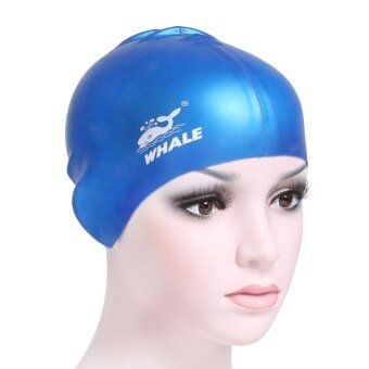 Whale Brand Women Men Adult Silicone Surf Hat Protect Ears LongHair Sports Swim Pool Shower Cap Swimming Cap(Blue)