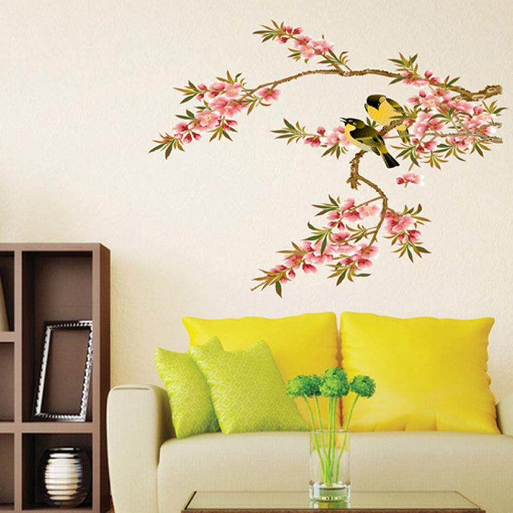 Pink Tree Birds PVC Wall Decals DIY Home Sticker WallPaper Vinyl Wall arts Pictures Removable Murals For House Decoration Baby Living Rooms Bedroom Toilet