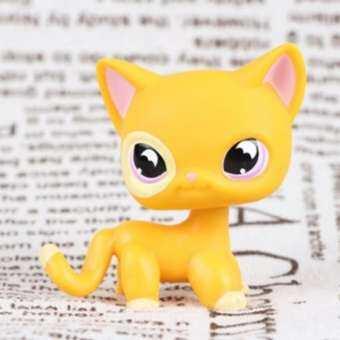 สัตว์เลี้ยงใหม่ของแท้ LPS #855 แมวสีส้มสีม่วงดวงจันทร์ค้างคาวตาป้องกันหุ่นของเล่น-