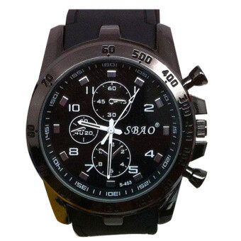Stainless Steel Luxury Sport Analog Quartz Modern Men Fashion Wrist Watch Black