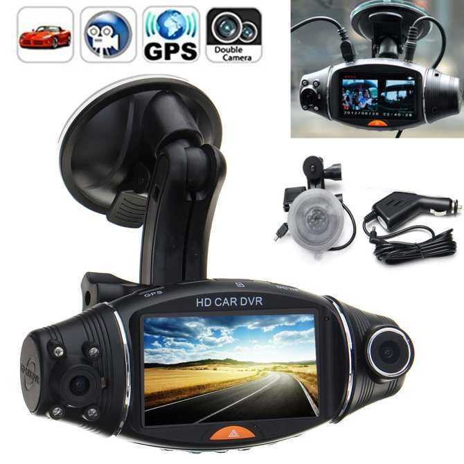 "2.7"" 1080P Car HD Dual Camera Driving Recorder GPS Track Gravity Induction Kit Black"