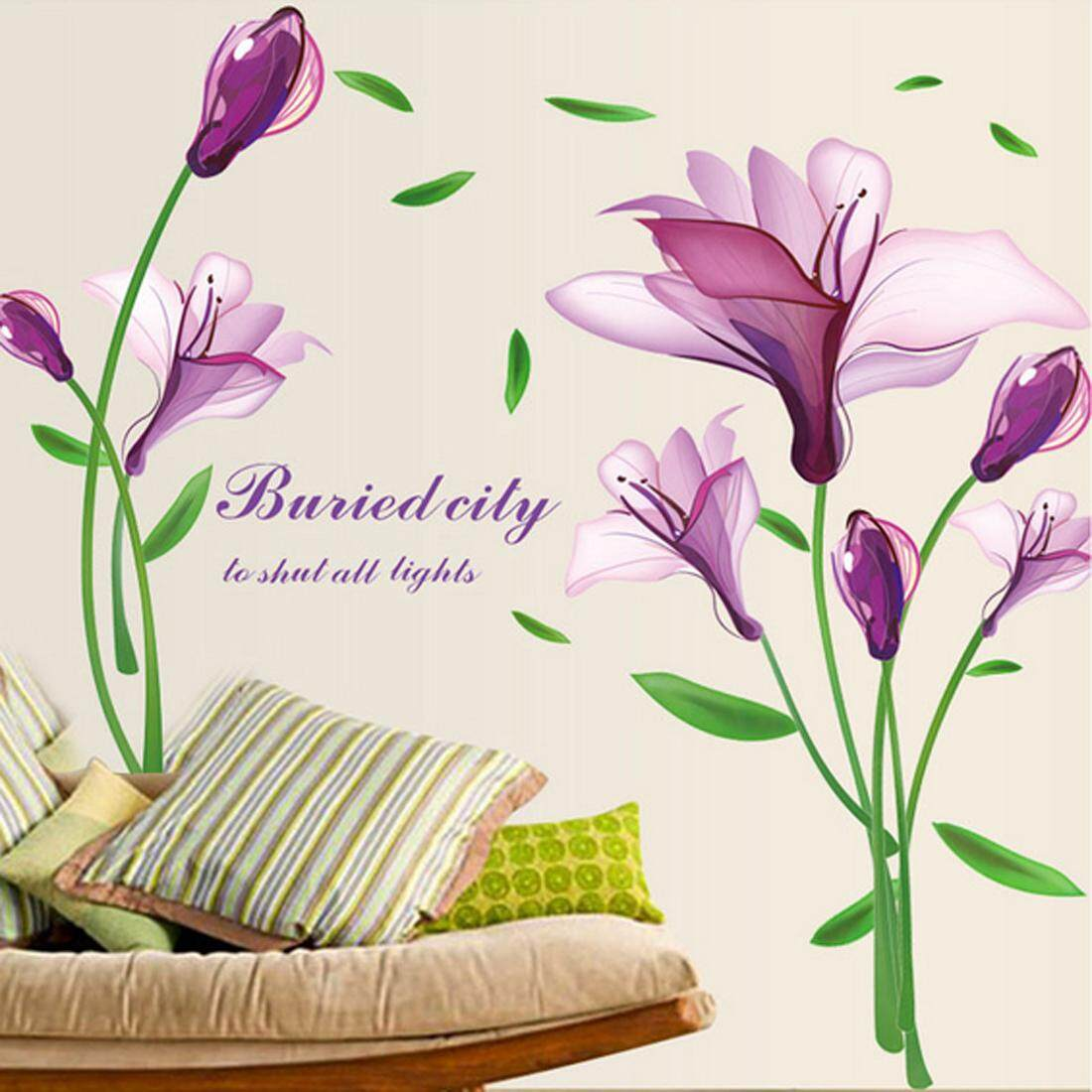 Purple Flowers PVC Wall Decals DIY Home Sticker WallPaper Vinyl Wall arts Pictures Removable Murals For House Decoration Baby Living Rooms Bedroom Toilet