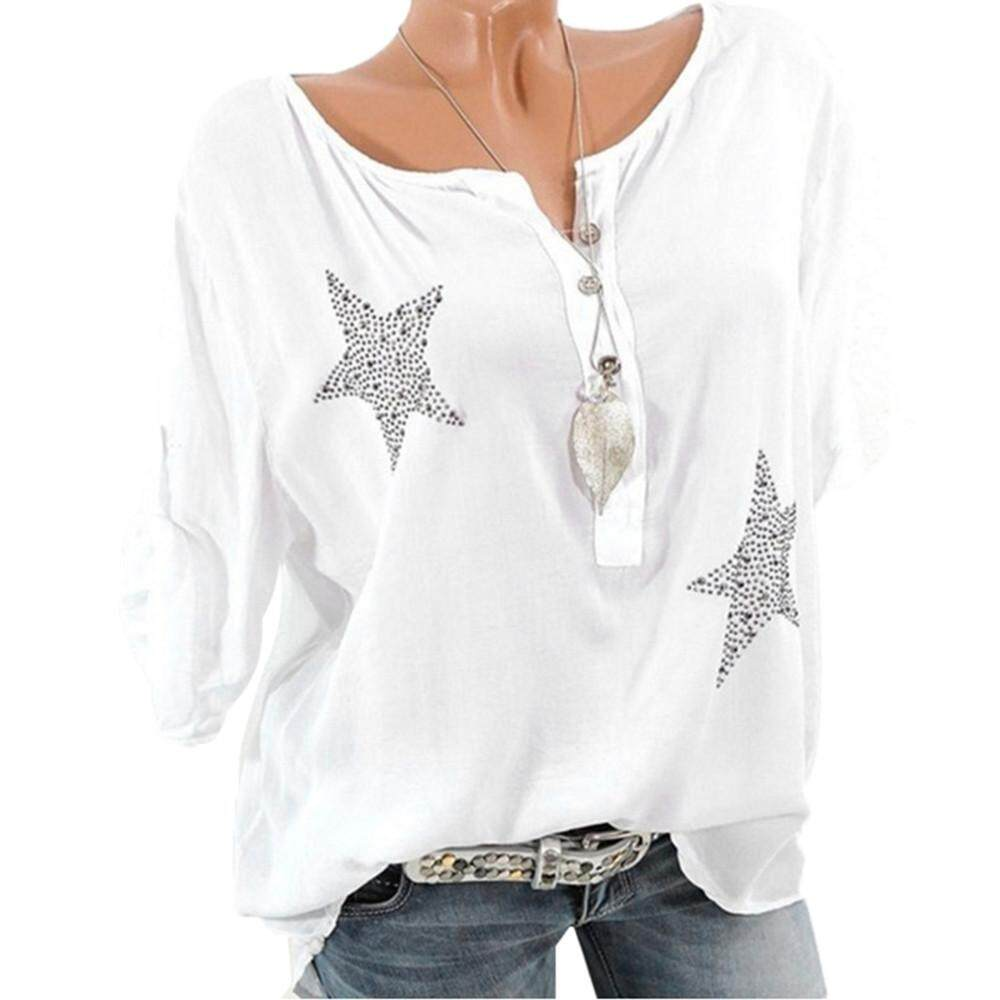 Provided Women Button Five-pointed Star Hot Drill Plus Size Tops Blouse Women's Clothing