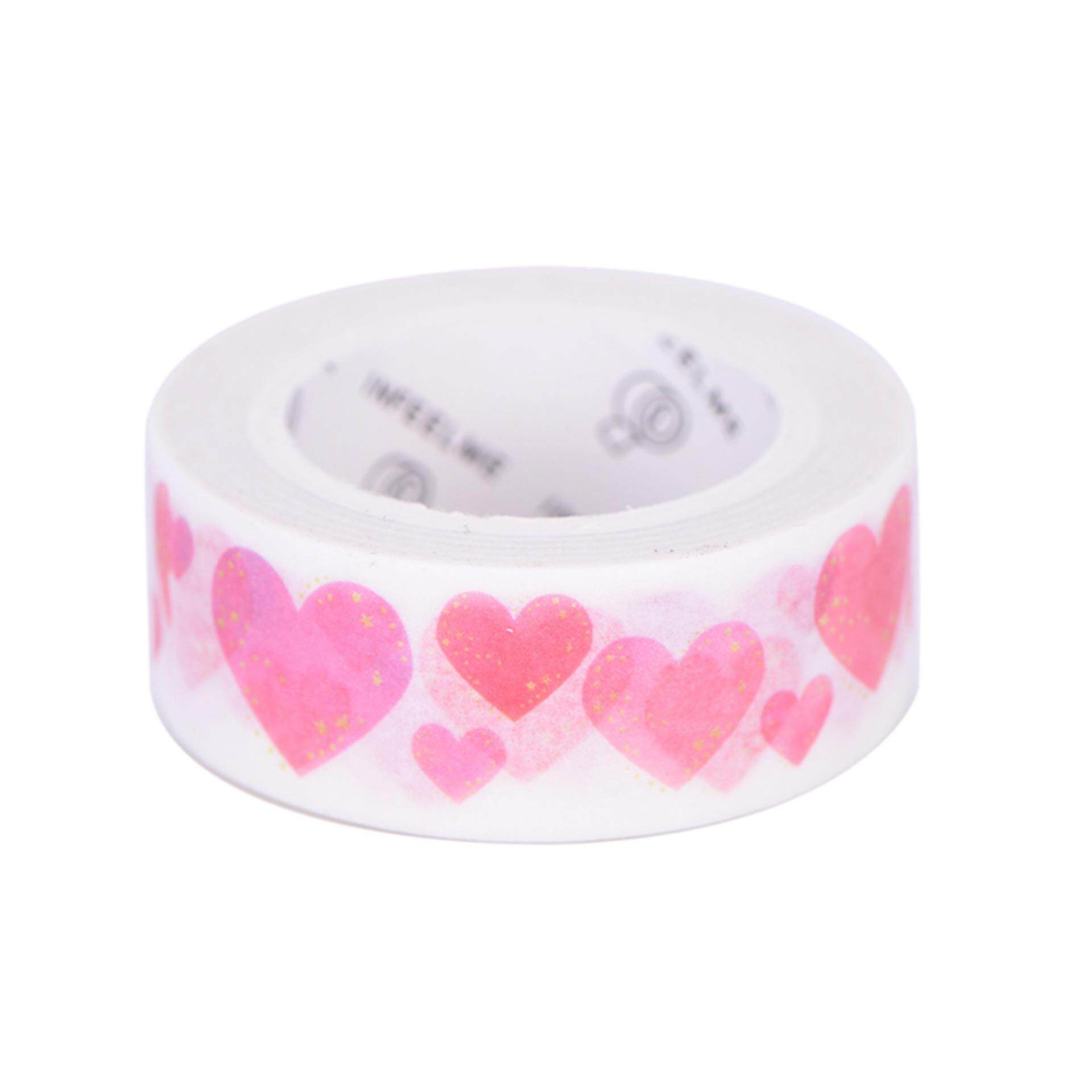 About 1.5cm X 7m Cute Kawaii Flowers Masking Washi Tape Decorative Adhesive Tape Decor Decora Diy Scrapbooking Sticker Label Stationery Heart
