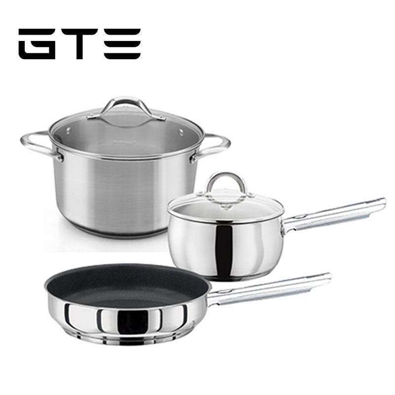 GTE 3-In-1 High Quality All Purpose Tri-Ply Stainless Steel Cookware Set Flat Bottom Sauce Pan Frying Pan Stew Pot With Glass Lid - Fulfilled by GTE SHOP