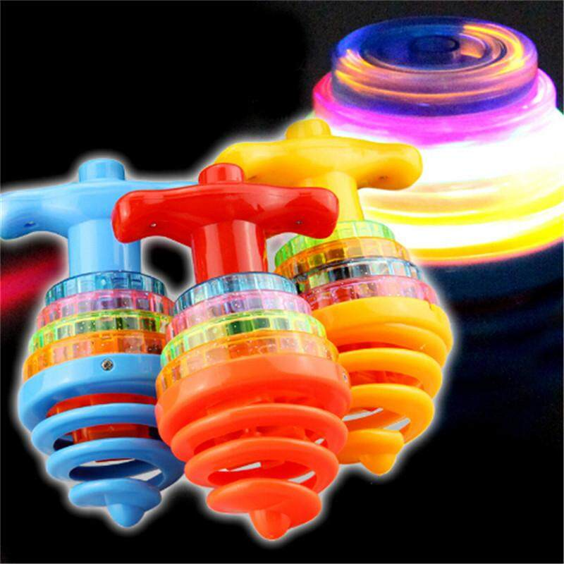 Colourful Light /& Music Spring Gyro Peg-Top Spinning Tops Kids Children Toy/%@