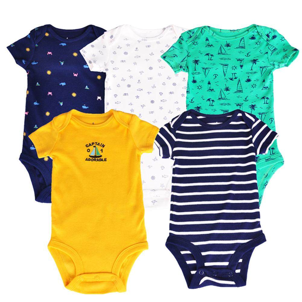 5pcs/set Baby Toddlers Newborns Boys Cool Dinosaur/Marine Series Romper Short Sleeve Cotton Vest Jumpsuit