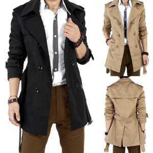 Hình ảnh Big Sale Men Windbreaker Long Fashion Jacket with Double-breasted Buttons Lapel Collar Coat