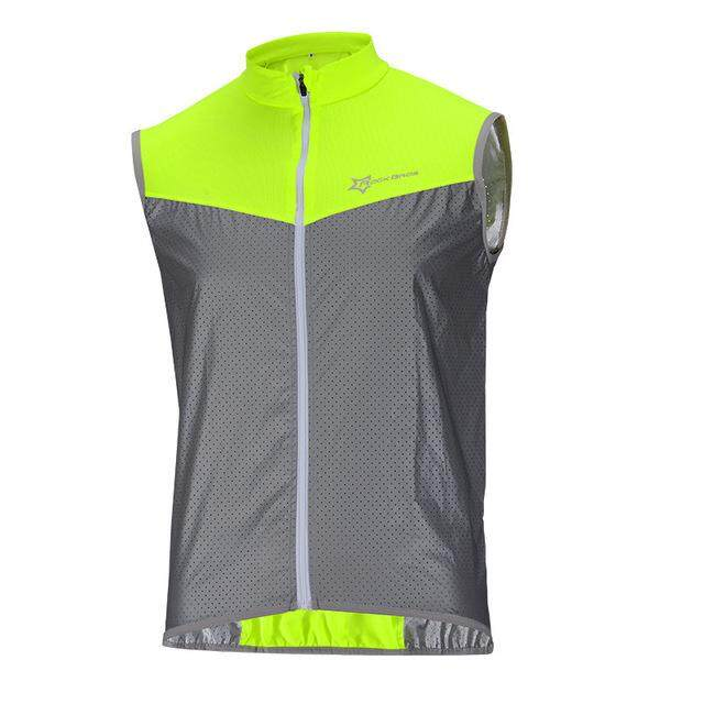 ROCKBROS Cycling Bike Reflective Sleeveless Vest Sportswear Bicycle Vest Windproof Safety Fluorescence Bike Breathable Jersey