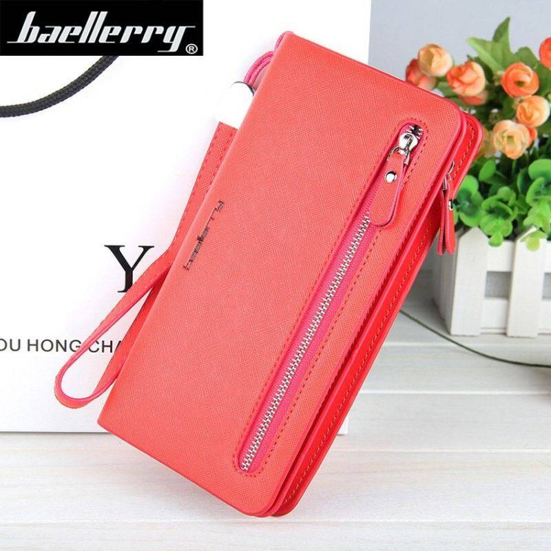 Toprate 2016 Baellerry Women Wallets Leather Purse Long Zipper ClutchWallet Wristlet Portefeuille Carteira Feminina Monedero SolidColors -Red