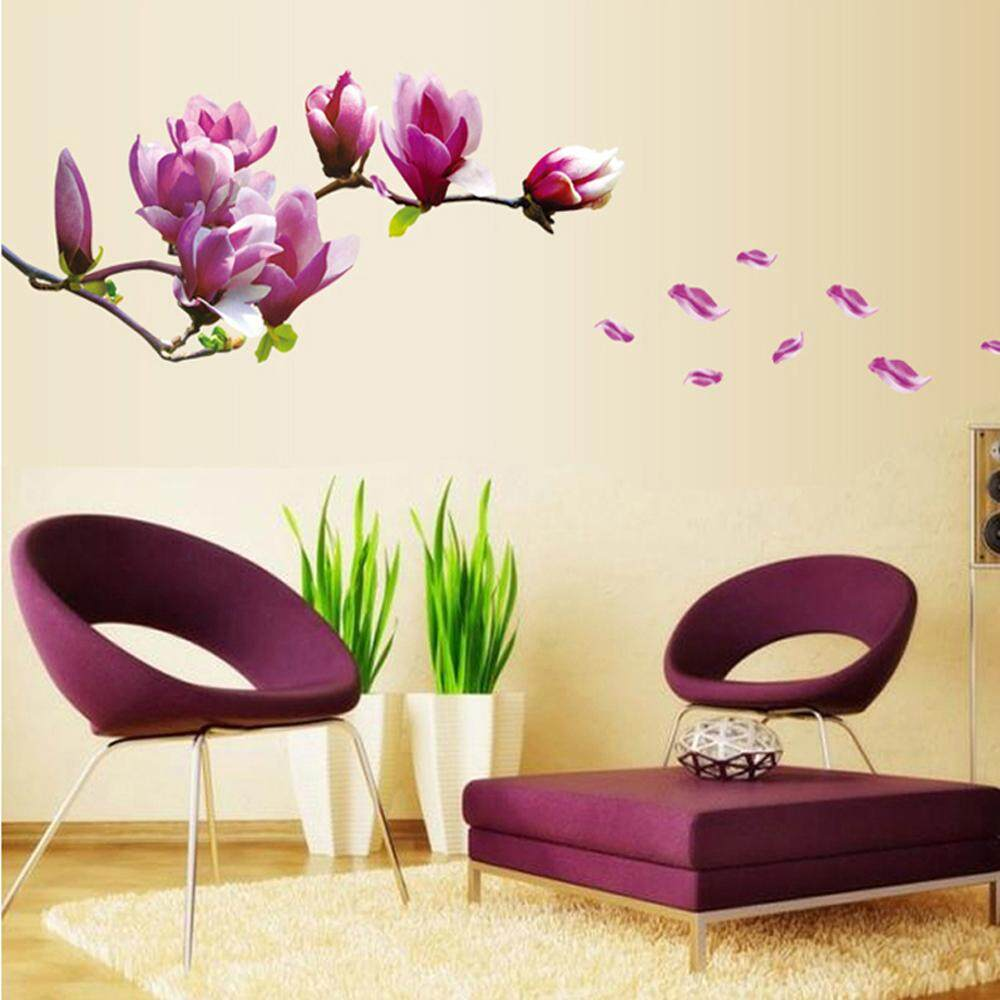 Purple Magnolia Flower PVC Wall Decals DIY Home Sticker WallPaper Vinyl Wall arts Pictures Removable Murals For House Decoration Baby Living Rooms Bedroom Toilet