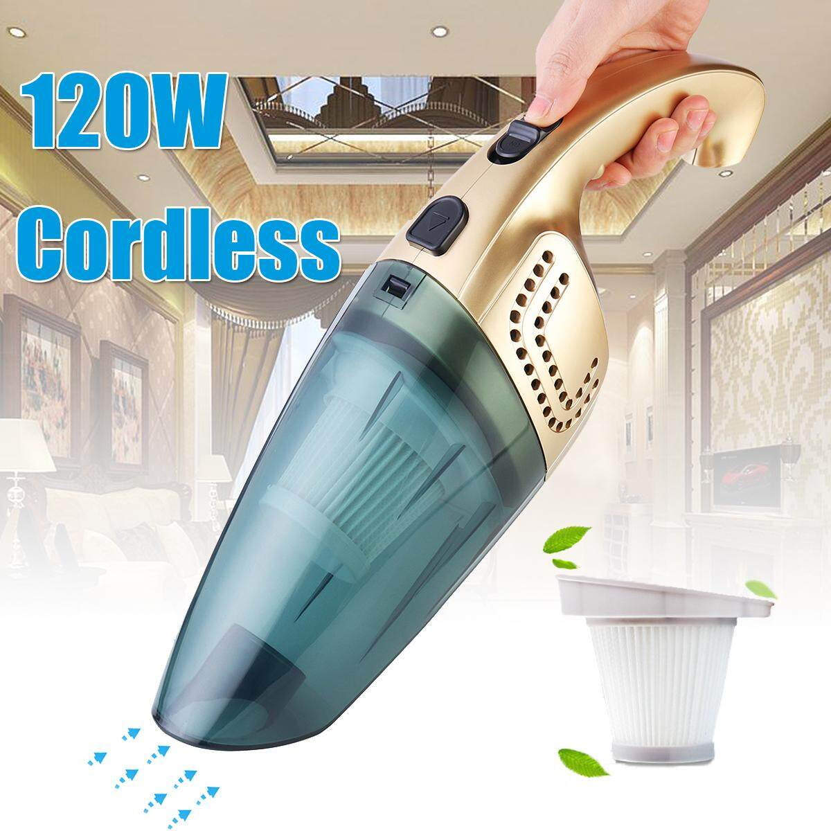 【Free Shipping + Flash Deal】120W Portable Cordless Vacuum Cleaner Rechargeable Car Home Use Dry/Wet 2600mAh