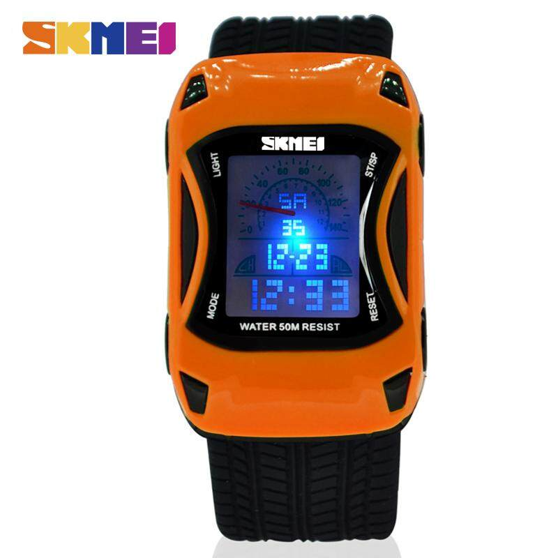 SKMEI Hot Kids Watches Silicone Jelly Waterproof Swim Sport Wristwatches For Children Car Style Digital Led Cartoon Watch For Boy 0961