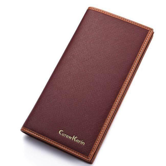 Pria Kulit Kartu Tunai Kantung Kuitansi Dompet Pengatur Dua Lipatan Dompet Panjang