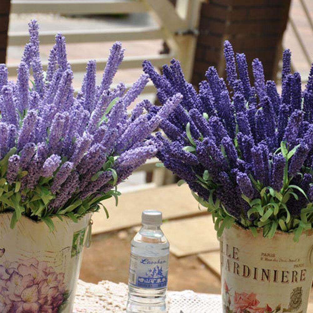 Image 2 for Outops จำลองช่อดอกลาเวนเดอร์ดอกไม้ประดิษฐ์ของตกแต่งงานแต่งงานในบ้าน (12 ดอกไม้หัวต่อช่อ)