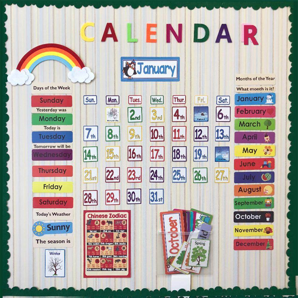 148PCS/Set English Date Month Holiday Calendar Time Calendar Wall Solar Term Weather Management Playing English Cards Game
