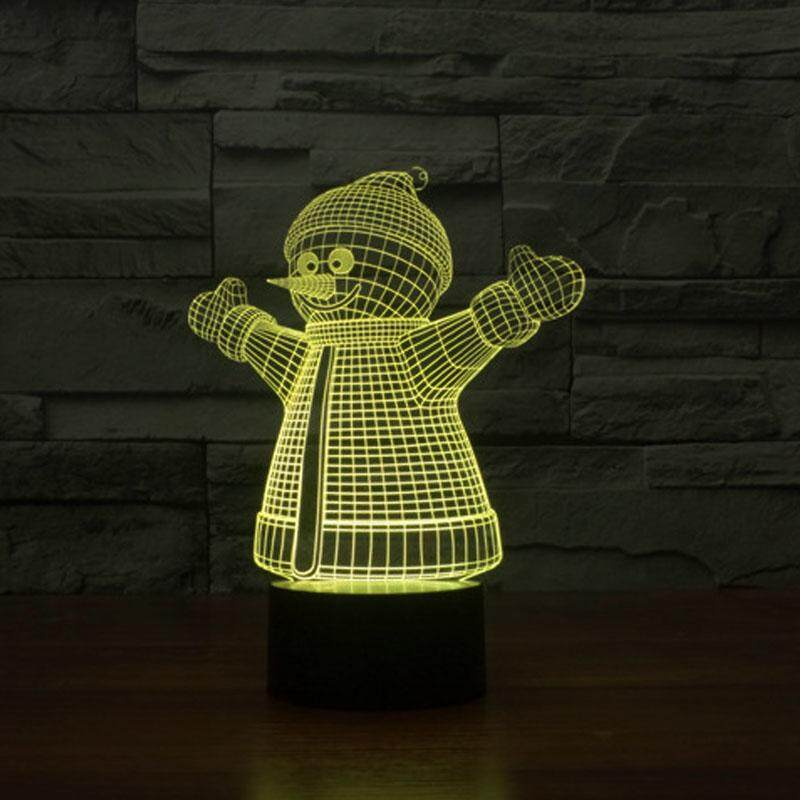 Christmas Snowman 3D visual Night Light Acrylic LED Lamp 7 Colors Changing Touch Control Special Light for Kids Gift
