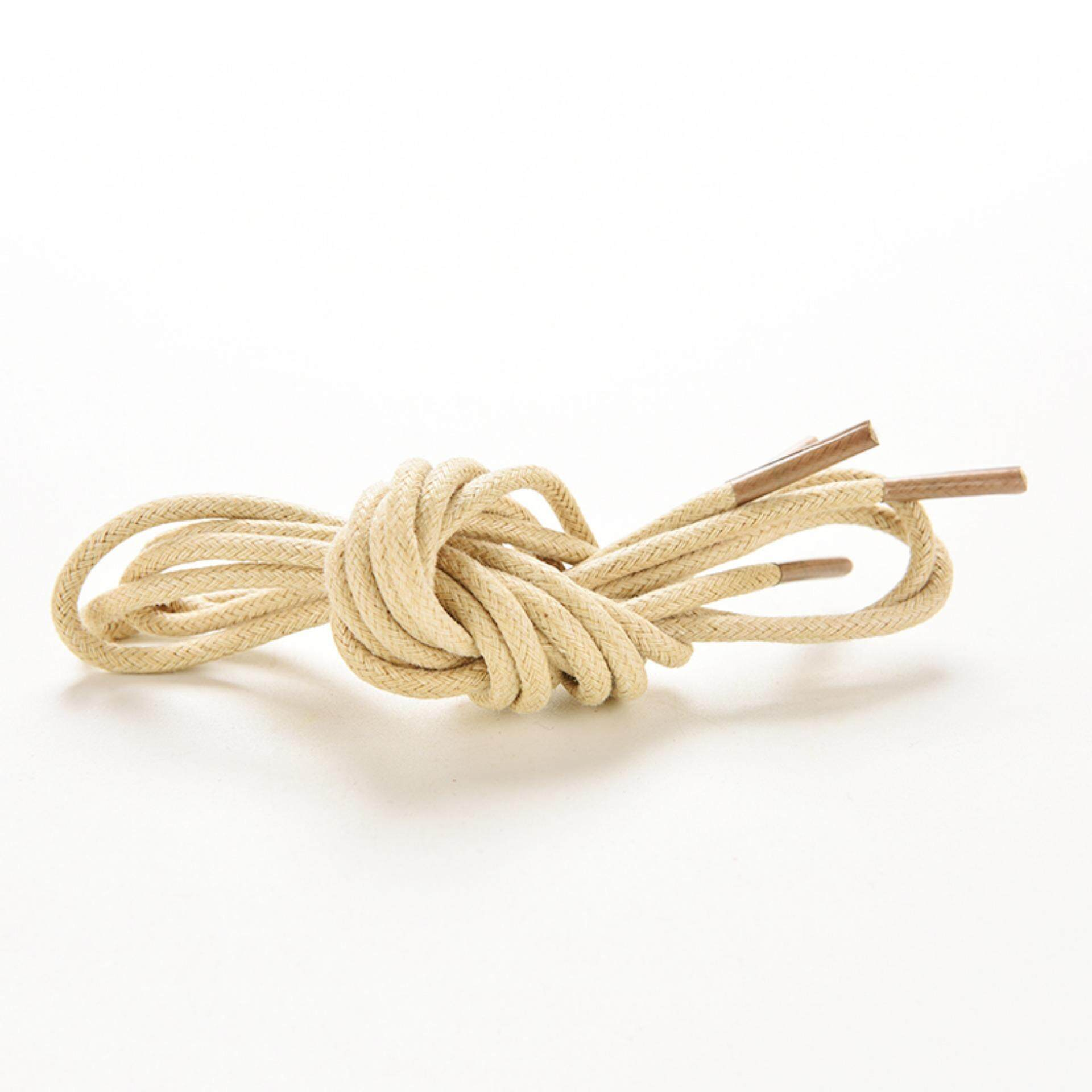 Multi Color Cotton Waxed Round Cord String Dress Shoe Laces 85cm 3 Pair Cream - intl