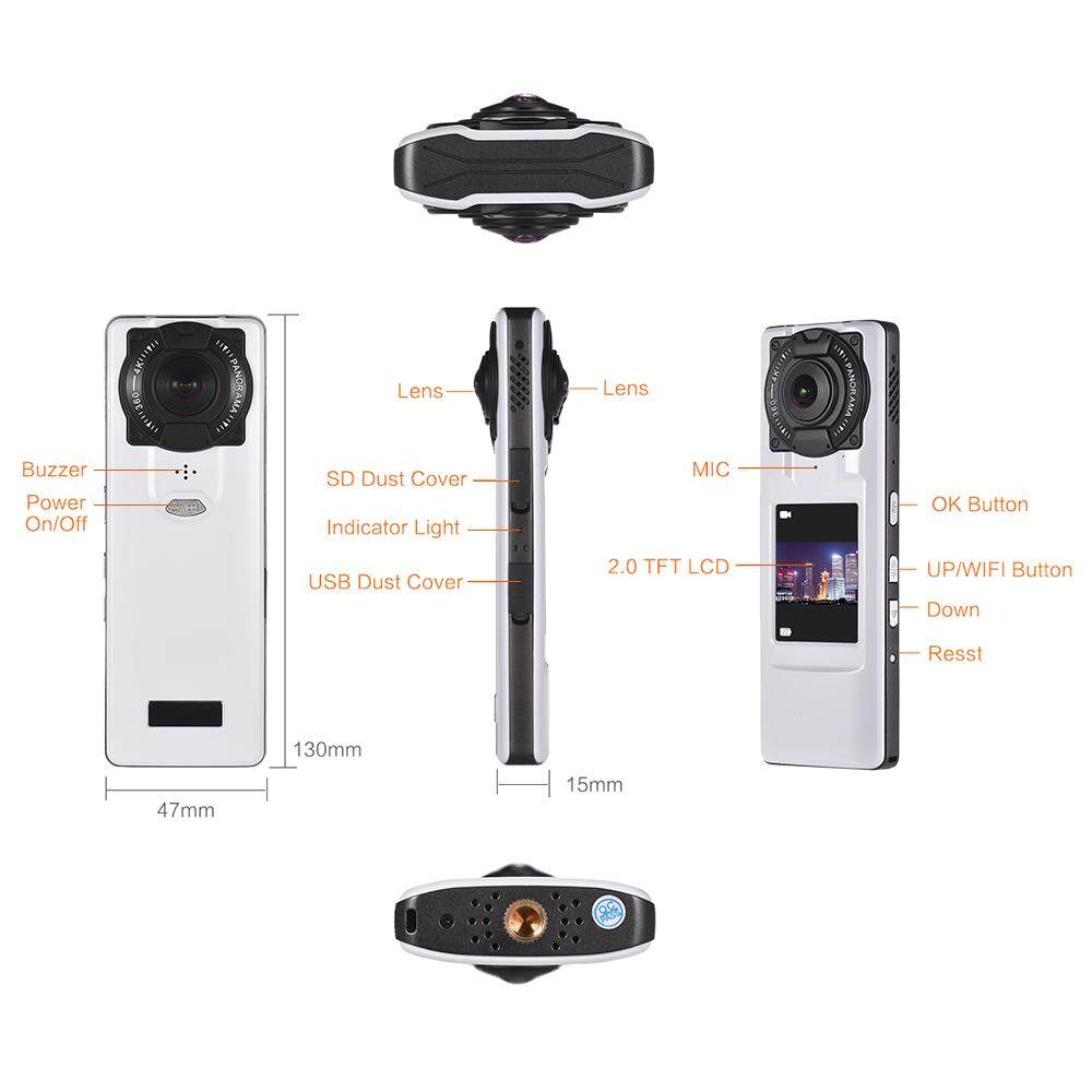 360° 4K Ultra HD WiFi VR Camera Handheld Panoramic Video Camera with Dual Lens 2.0inch LCD Display