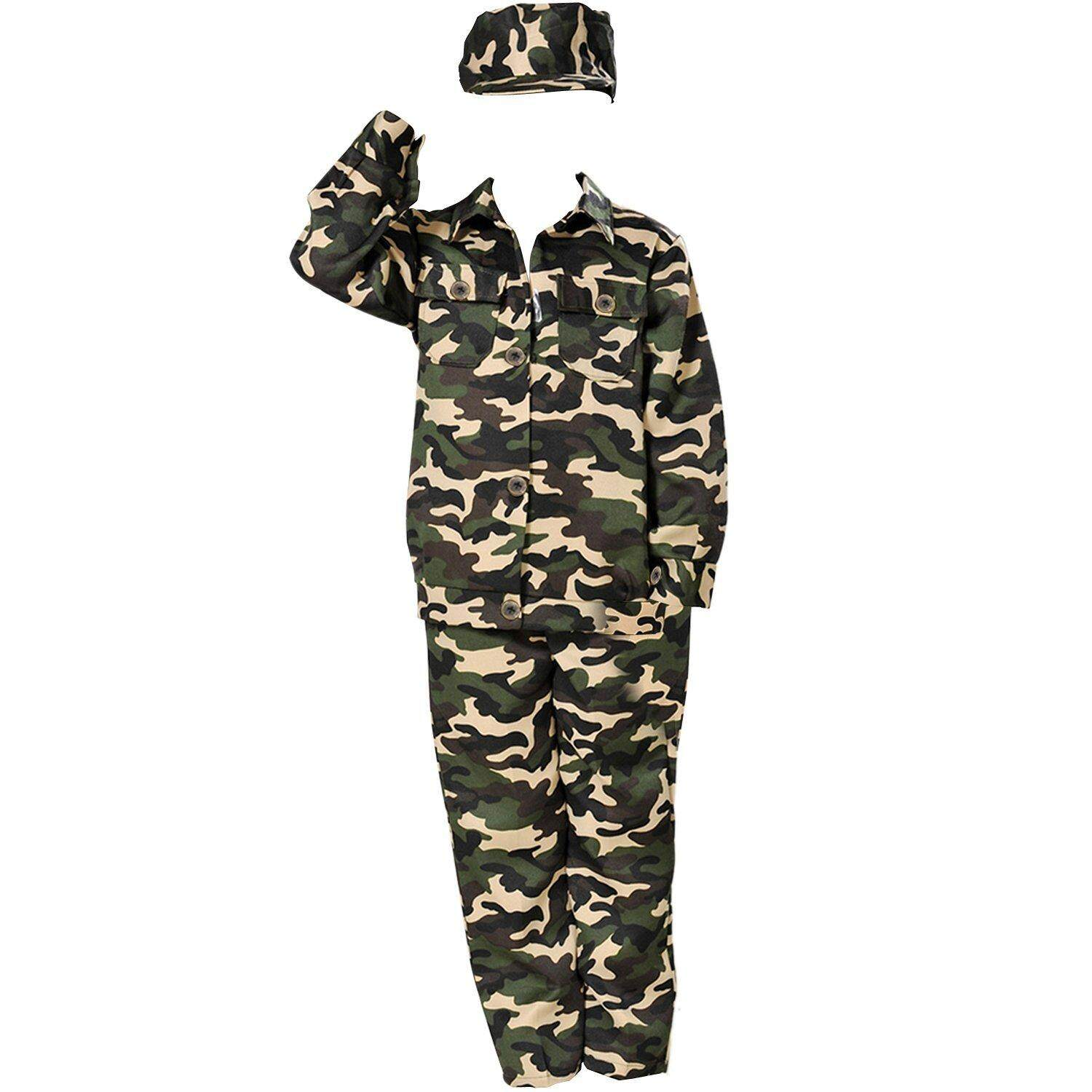 Children Kids Army Soldier Fancy Dress Costume Military Soldier Uniform Party Camo Outfit (4-6 years)