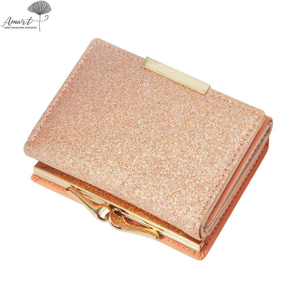 Amart Fashion Women Cute Sequin PU Leather Trifold Slim Mini Wallet Small Short Purse Coin Money Card Holder Bag