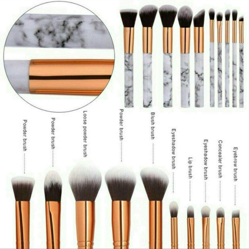 10 pieces MARBLE Makeup Brush Collection Set