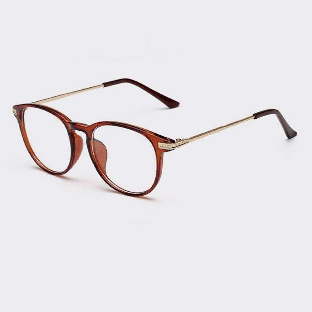 Fashion Mens Glasses Frame Retro Round Glassesbrown Frame Men Glasses Plastic Frame Frames Plain Glasses For Eyeglassesoptical