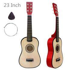 23 Inch Basswood Acoustic Guitar Wood Color 6 String Instrument with Guitar Pick and String
