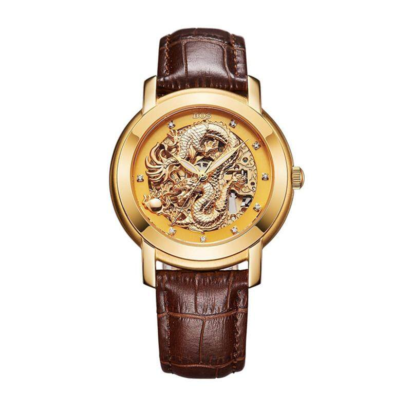 ANGELA BOS 9007 Automatic Mechanical Watches Dragon Collection Leather Strap Men Watch
