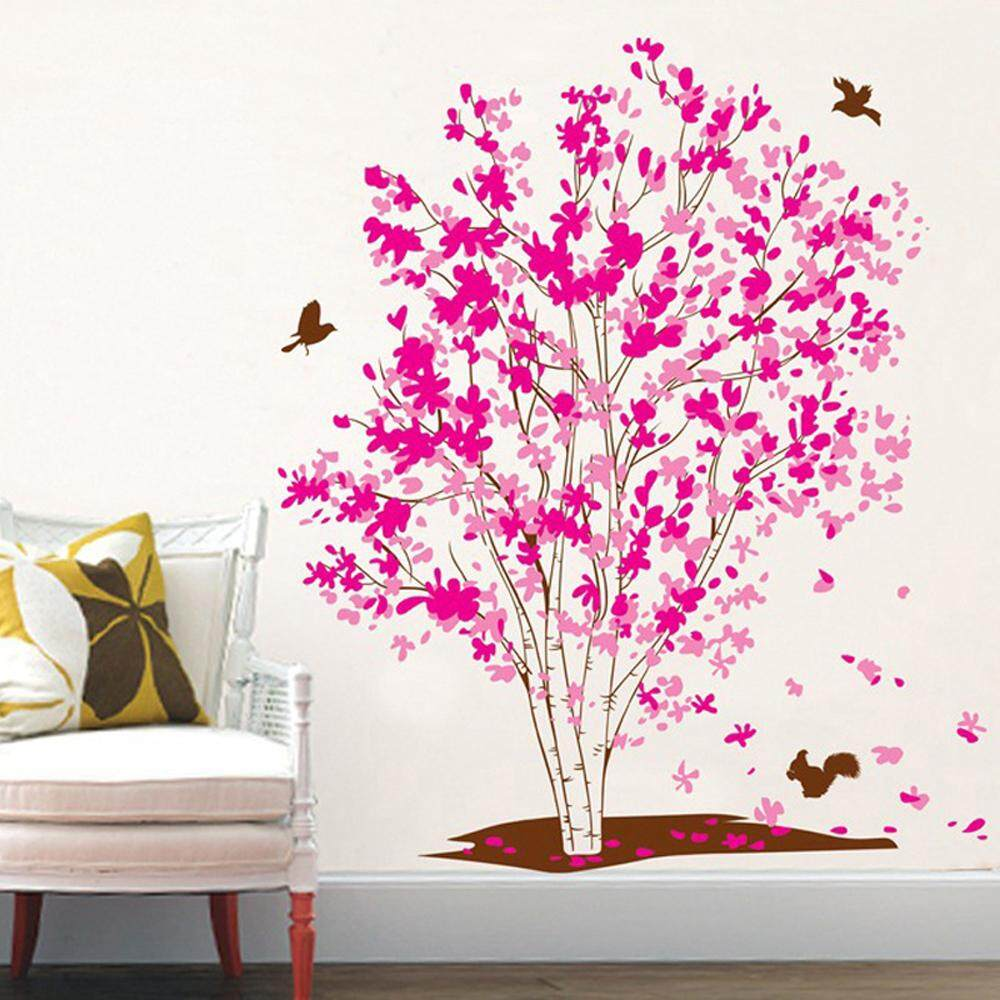 Pink Flower Tree Butterflies PVC Wall Decals DIY Home Sticker WallPaper Vinyl Wall arts Pictures Removable Murals For House Decoration Baby Living Rooms Bedroom Toilet