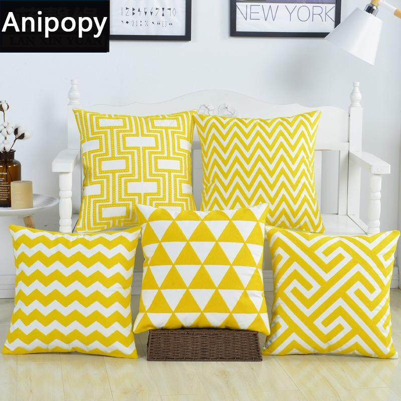 Set Of 5 Embroidery Throw Pillow Case Pillowcase Sofa Home Decor Cushion Cover 45 X 45 Cm Yellow Lazada Singapore