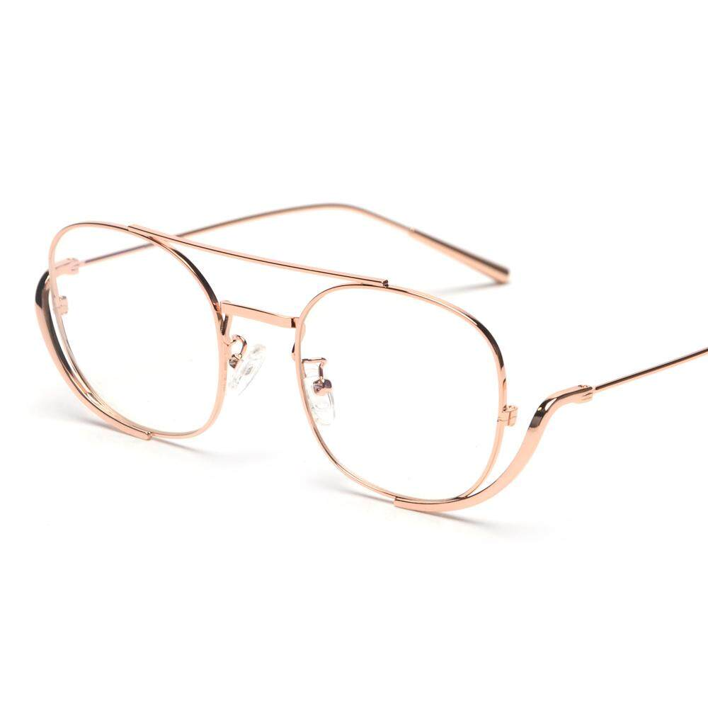5b897342a1c3 Male Men Glasses Frame Optical 2019 Rose Gold Metal Vintage Eyeglass Frames  for Women Square Black