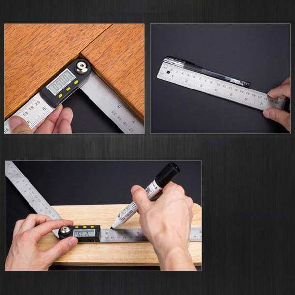 YH 2-in1 Digital Angle Finder Meter Protractor Goniometer Ruler 200mm 360° Measurer