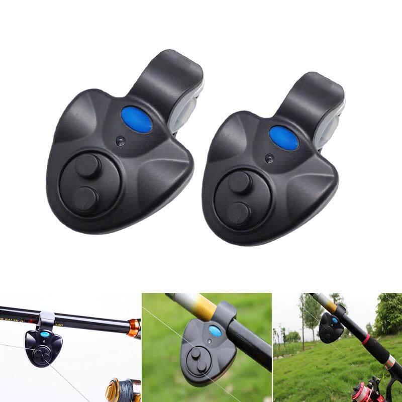 PAlight 2Pcs Electronic LED Light Fishing Alert Bite Sound Alarm Bell  Buzzer Clip On Fishing Rod