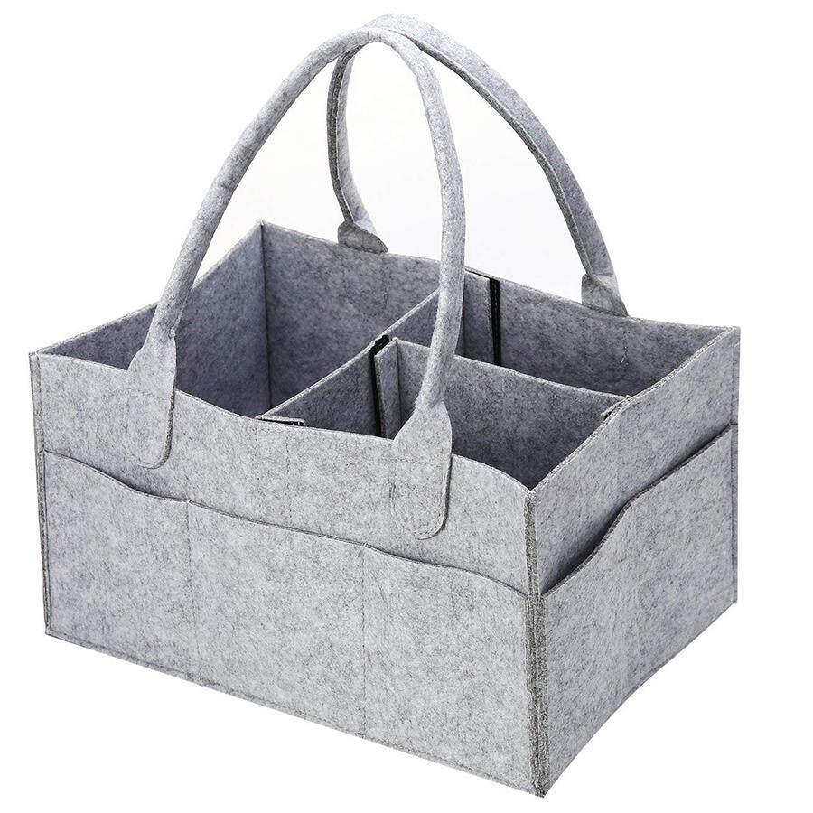 Grey Diaper Caddy Baby Organizer Waterproof Large Baby Basket Nursery Organizer Foldable Nursery Storage Unisex Baby Gift for Home and Travel