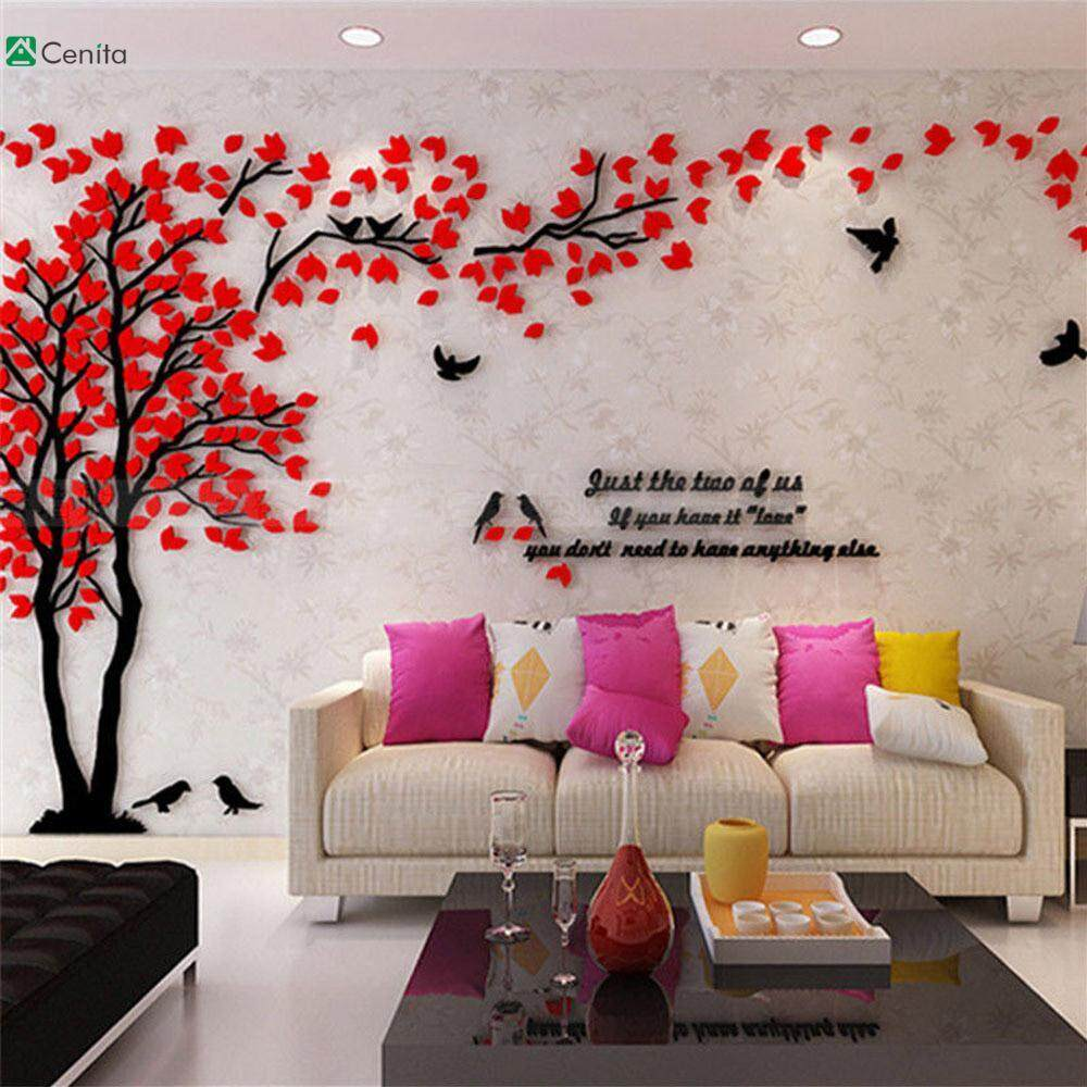 Cenita Acrylic Wall Stickers Acrylic Wallpaper Beautiful 1*2M Bird 3D Tree
