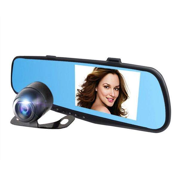 4.3 inch LCD HD 720P Car Dash Video Camera Driving Recorder with Dual Lens for Vehicles Front & Rearview Mirror with 170-degree Wide Angle Lens and G-Sensor for Auto-Recording